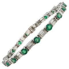 Platinum Baguette Diamond and Fine Emerald Line Bracelet