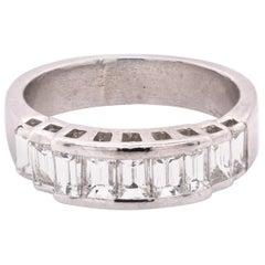 Platinum Baguette Diamond Band