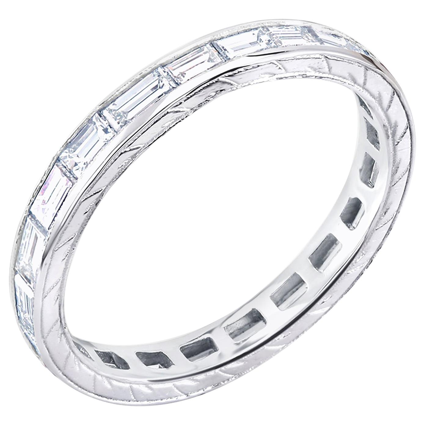 Platinum Baguette Diamond Engraved Eternity Band Weighing 1.50 Carat