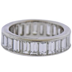Platinum Baguette Diamond Eternity Wedding Band Ring