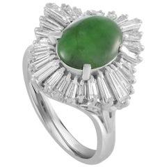 Platinum Baguette Diamond Pave Oval Jade Band Ring