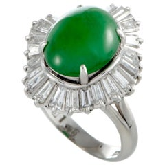 Platinum Baguette Diamonds and Oval Jade Ring