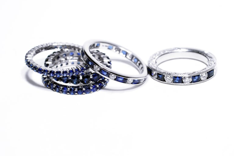 Baguette Cut Platinum Baguette Sapphire Alternating Princess Cut Diamond Eternity Ring For Sale