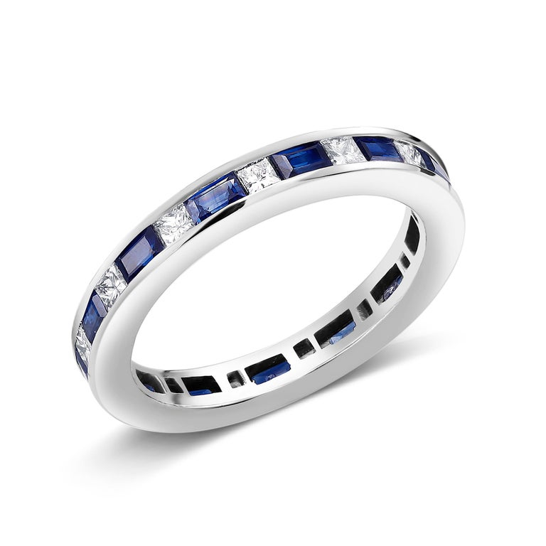 Platinum Baguette Sapphire Alternating Princess Cut Diamond Eternity Ring In New Condition For Sale In New York, NY