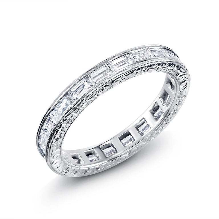 Platinum Baguette Shape Diamond Eternity Band with Old Master Engraving For Sale 1
