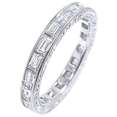 Platinum Baguette Shape Diamond Eternity Band with Old Master Engraving