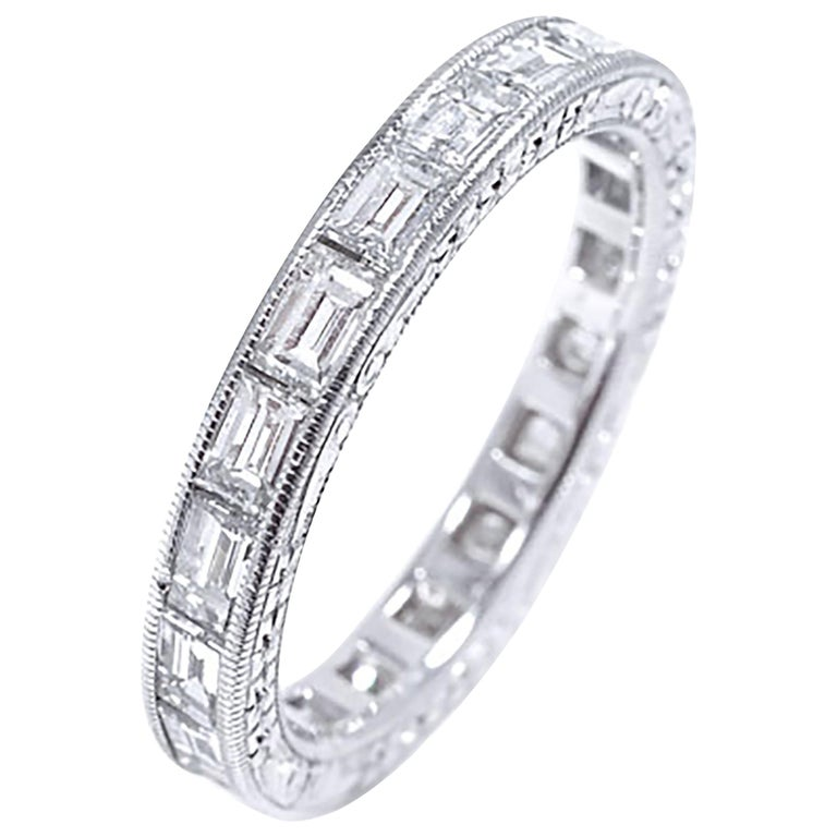 Platinum Baguette Shape Diamond Eternity Band with Old Master Engraving For Sale