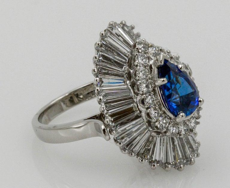 Platinum Ballerina Ring with Ceylon Blue Sapphire and Diamonds For Sale 5