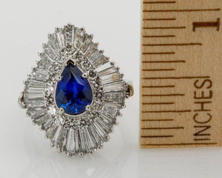 Platinum Ballerina Ring with Ceylon Blue Sapphire and Diamonds For Sale 6