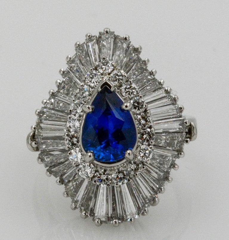 Platinum Ballerina Ring with Ceylon Blue Sapphire and Diamonds For Sale 7