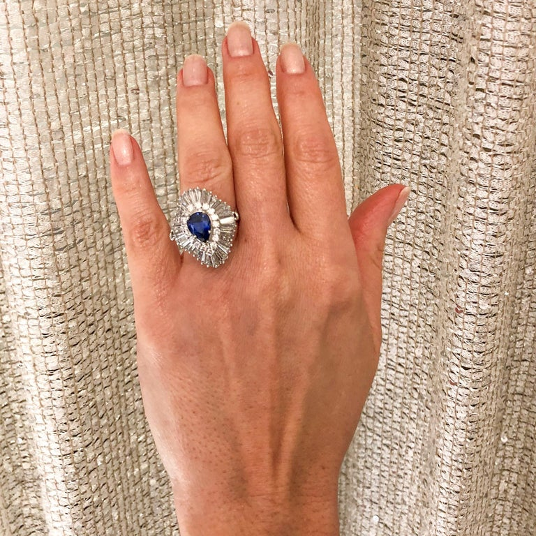 Platinum Ballerina Ring with Ceylon Blue Sapphire and Diamonds For Sale 8