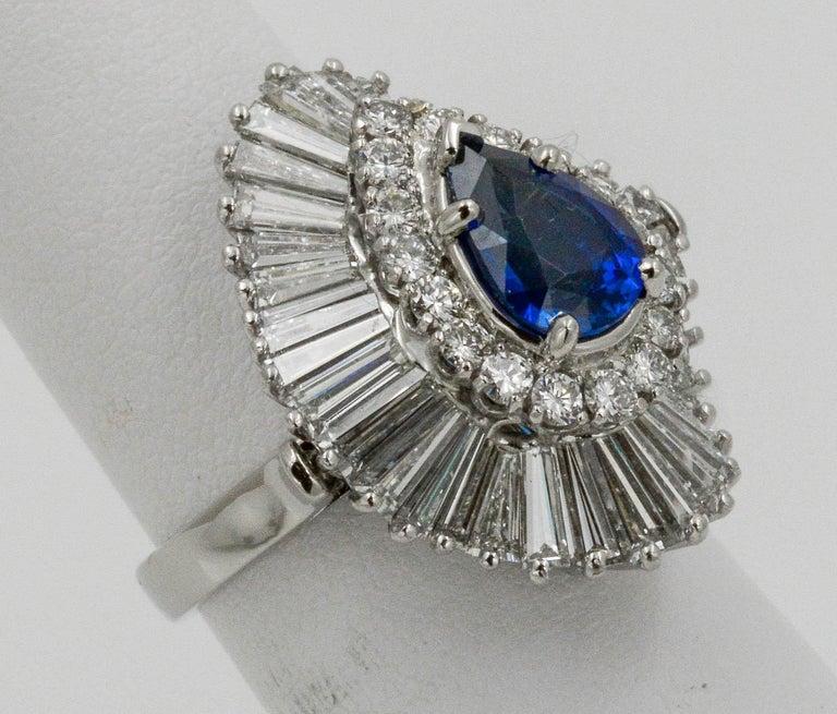 Modern Platinum Ballerina Ring with Ceylon Blue Sapphire and Diamonds For Sale