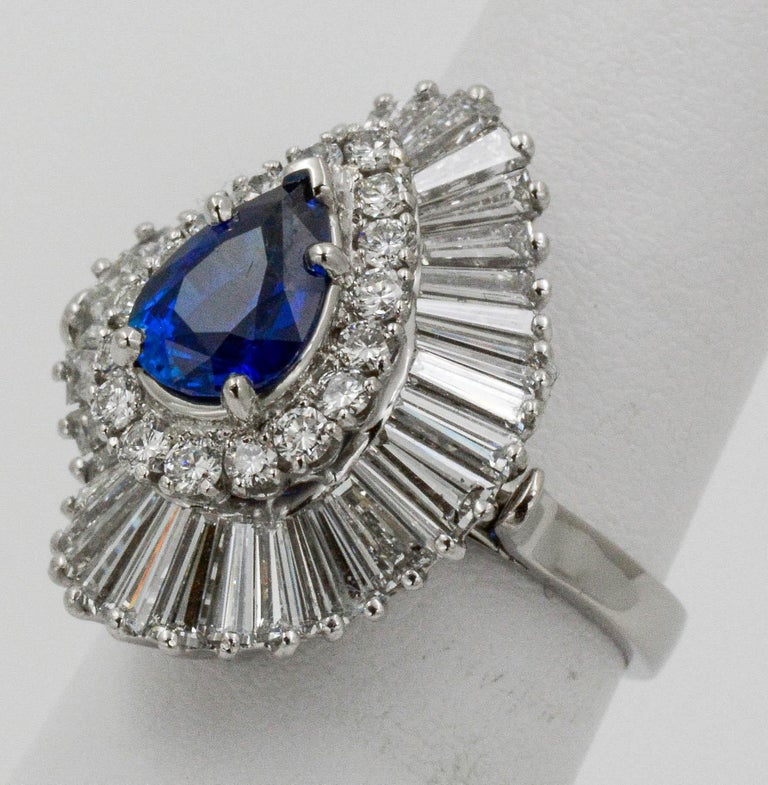 Pear Cut Platinum Ballerina Ring with Ceylon Blue Sapphire and Diamonds For Sale