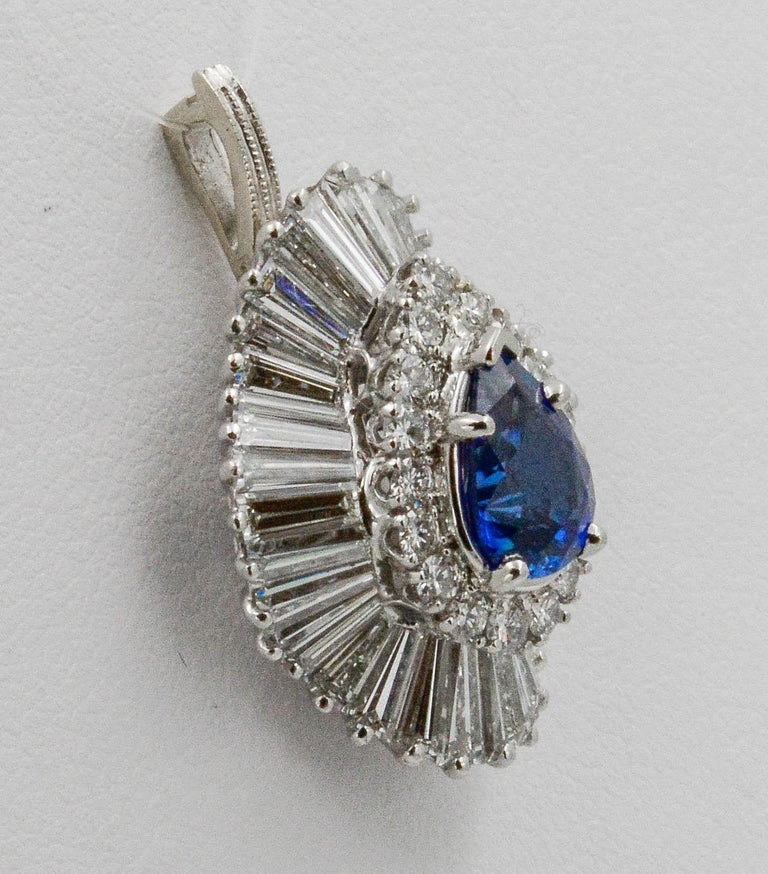 Women's Platinum Ballerina Ring with Ceylon Blue Sapphire and Diamonds For Sale