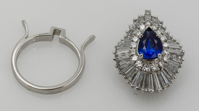 Platinum Ballerina Ring with Ceylon Blue Sapphire and Diamonds For Sale 1