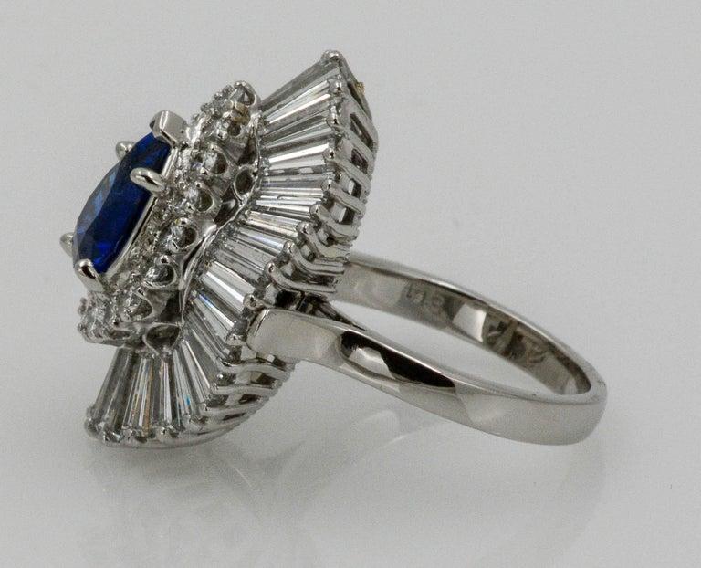 Platinum Ballerina Ring with Ceylon Blue Sapphire and Diamonds For Sale 2