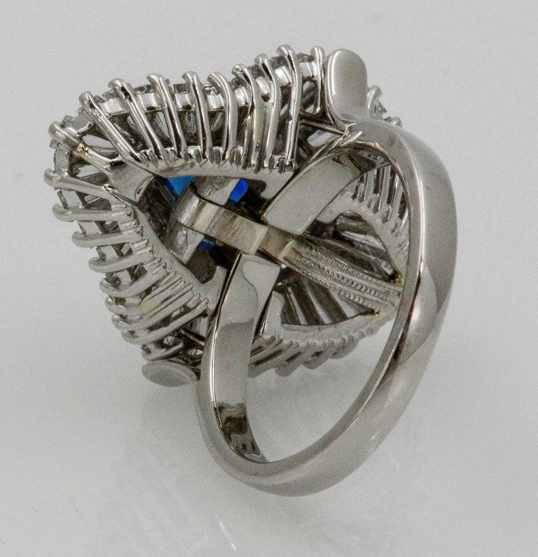 Platinum Ballerina Ring with Ceylon Blue Sapphire and Diamonds For Sale 3