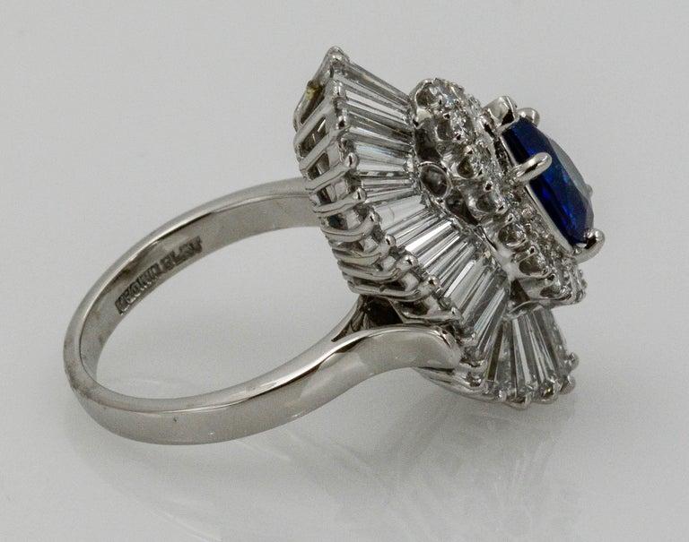 Platinum Ballerina Ring with Ceylon Blue Sapphire and Diamonds For Sale 4