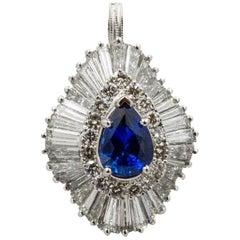 Platinum Ballerina Ring with Ceylon Blue Sapphire and Diamonds