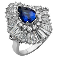 Platinum Ballerina Ring with Ceylon Blue Sapphire and Diamonds