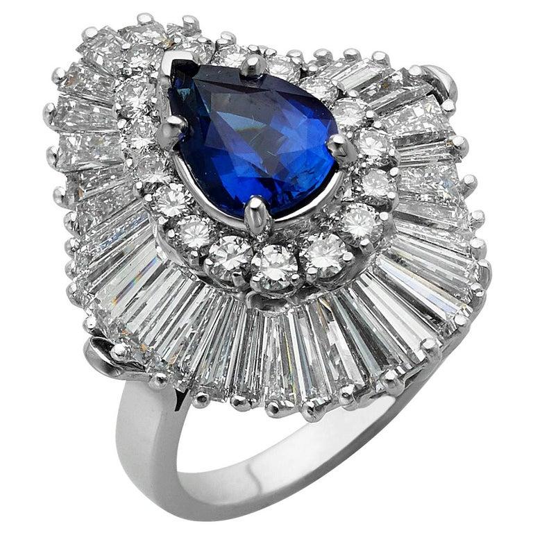 Platinum Ballerina Ring with Ceylon Blue Sapphire and Diamonds For Sale