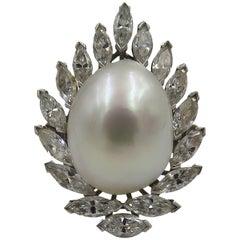Platinum, Baroque Pearl and Diamond Ring