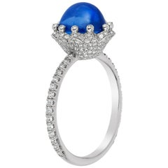 "Platinum ""Bellflower"" 3.28 Carat Natural Sapphire Ring with Micro Pave Diamonds"