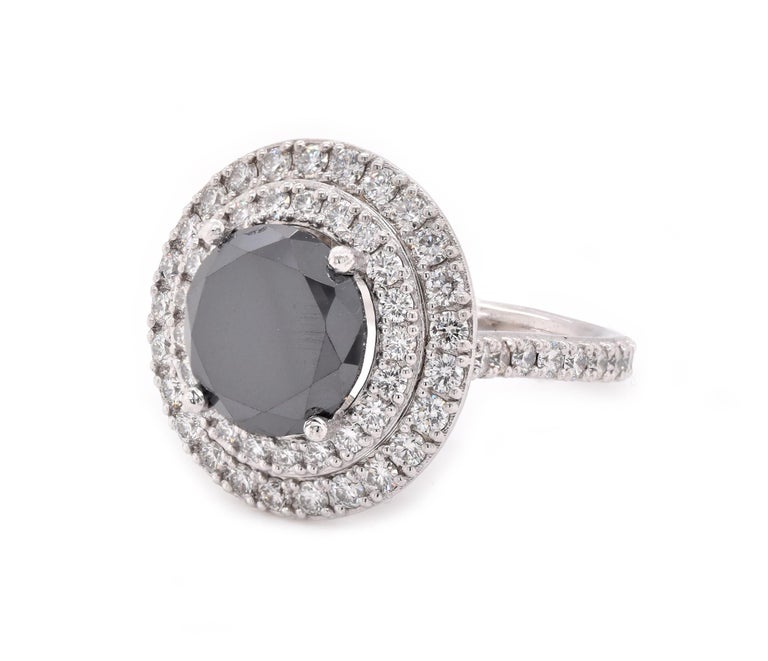 Platinum Black Diamond Engagement Ring In Excellent Condition For Sale In Scottsdale, AZ