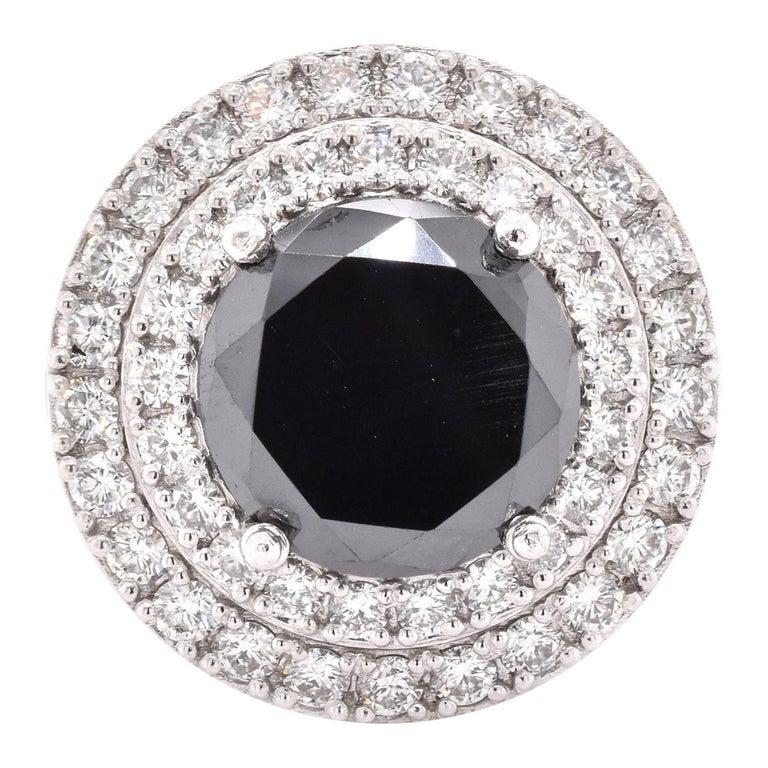 Platinum Black Diamond Engagement Ring For Sale
