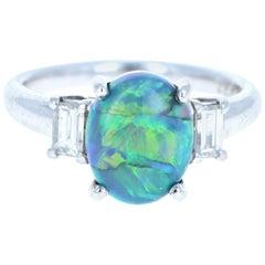 Platinum Black Opal and Diamond Ring 2.59 Carat