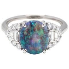 Platinum, Black Opal and Diamond Statement Ring, October Birthstone