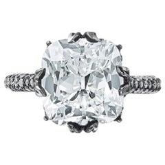 Nina Runsdorf Platinum Blackened 6.73 Carat Cushion Cut Diamond Ring