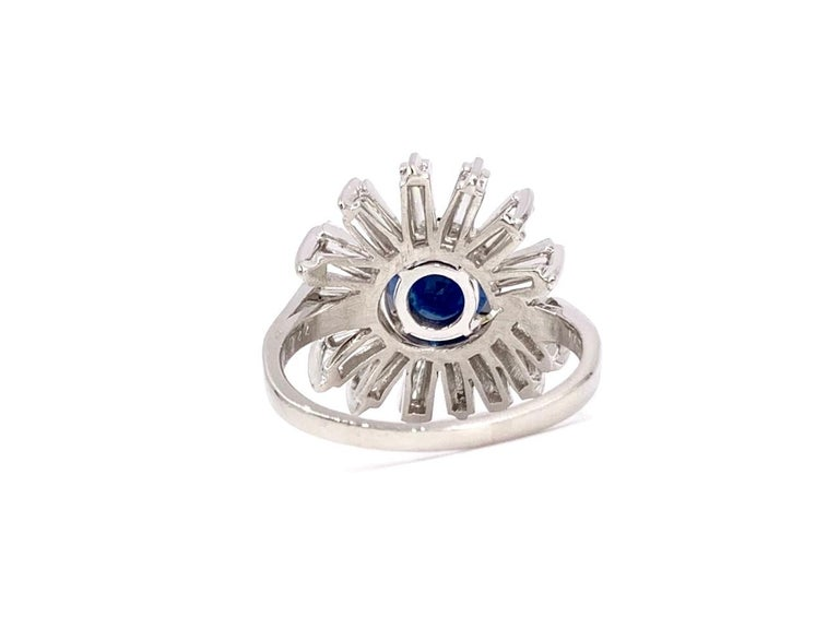 Modern Platinum Blue Sapphire and Diamond Cocktail Ring For Sale