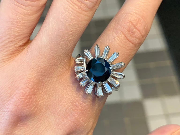 Platinum Blue Sapphire and Diamond Cocktail Ring For Sale 3