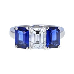 Platinum Blue Sapphire Diamond Three-Stone Trilogy Engagement Ring