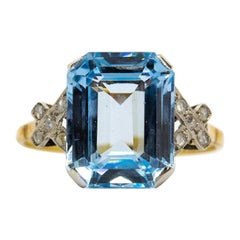 Platinum Blue Topaz and Diamond Ring