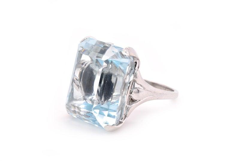 Emerald Cut Platinum Blue Topaz Ring For Sale