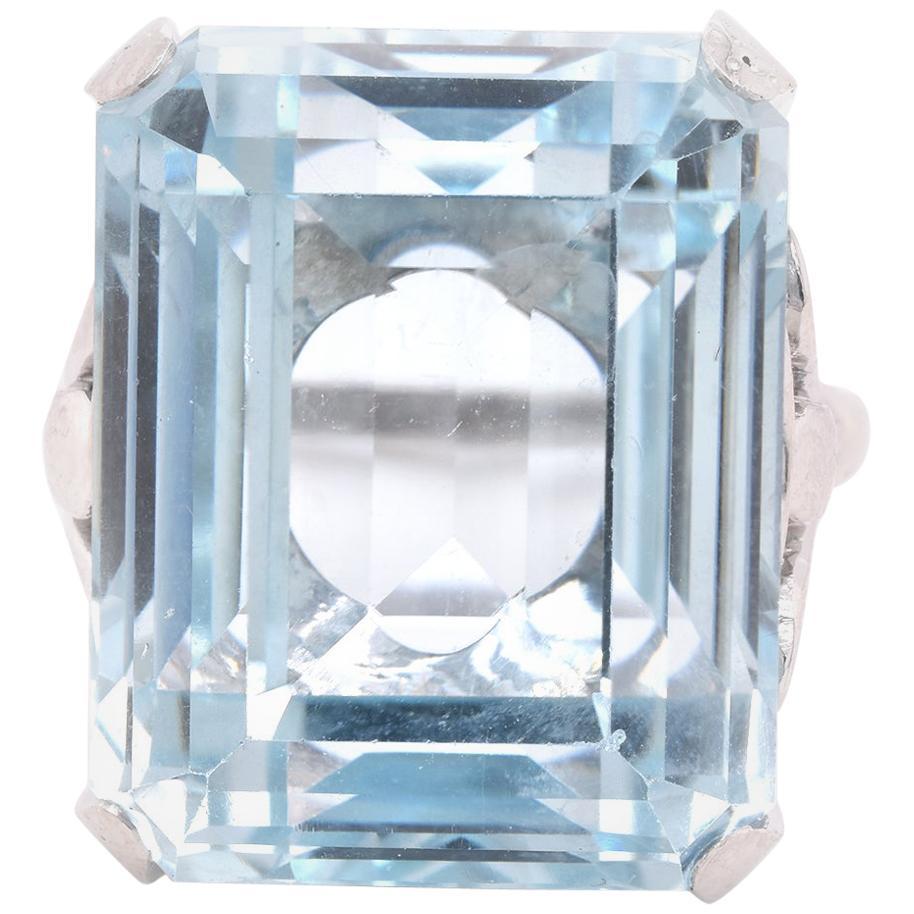 Platinum Blue Topaz Ring
