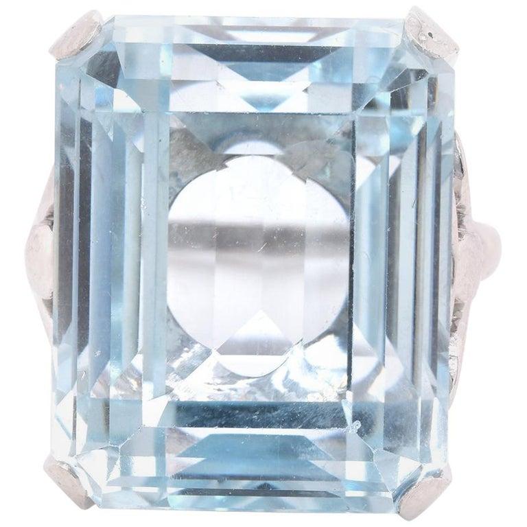 Platinum Blue Topaz Ring For Sale