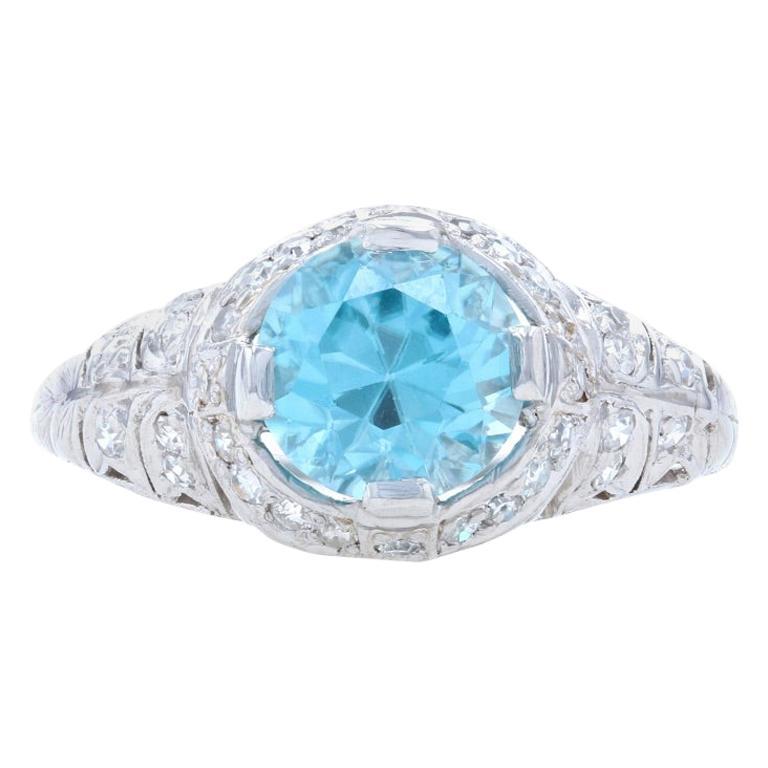 Platinum Blue Zircon Diamond Art Deco Ring Round 2.74 Carat Vintage Engagement