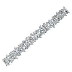 Platinum Bracelet 25 Carat Marquise and Oval Mix Diamonds Free Style
