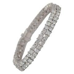 Platinum Bracelet Set with Round Brilliant & Princess Cut Diamonds, 15.65ct