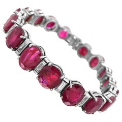 Platinum Bracelet with 17 Rubies and 18 Diamonds