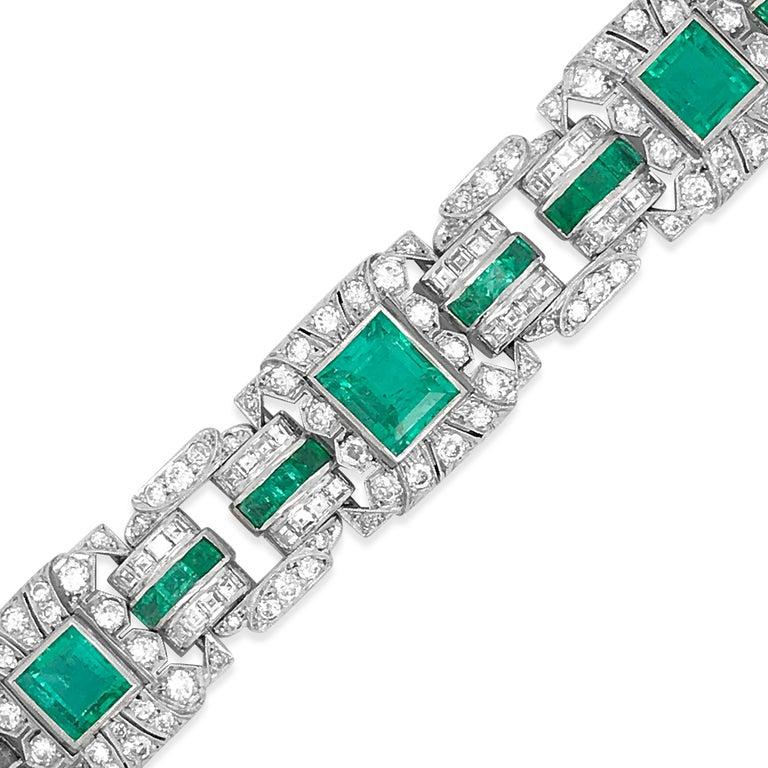 Emerald Cut Art Deco Platinum Columbia Emerald and Diamond Bracelet