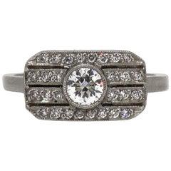 Platinum Brilliant Cut Diamond Art Deco Style Cluster Ring