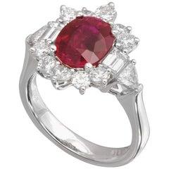Platinum Burma Ruby and Diamond Ring