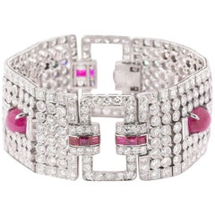 Platinum Burma Ruby Art Deco Bracelet