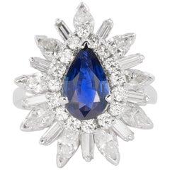 Platinum Burma Sapphire Ring