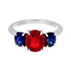 Platinum Burmese Ruby and Sapphire 3-Stone Ring