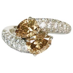 Platinum Bypass Ring with Natural Champagne Diamonds 1.53 Carat